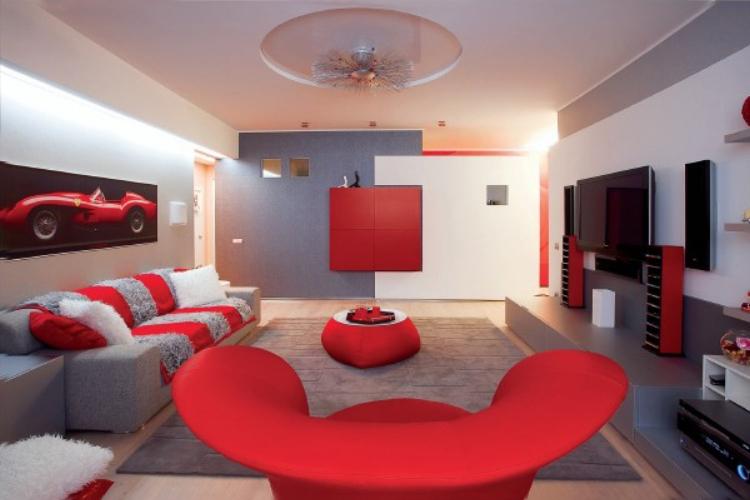 Интерьеры квартир-красно черный