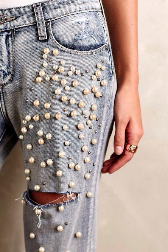 Как украсить джинсы своими руками 2017