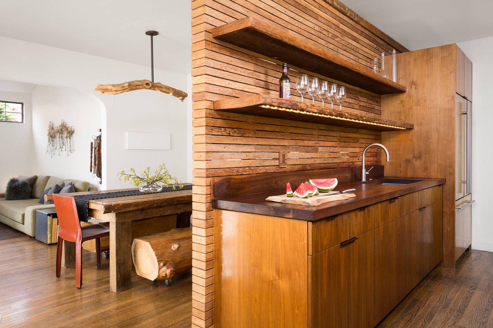 Как сделать деревянную стену в кухне