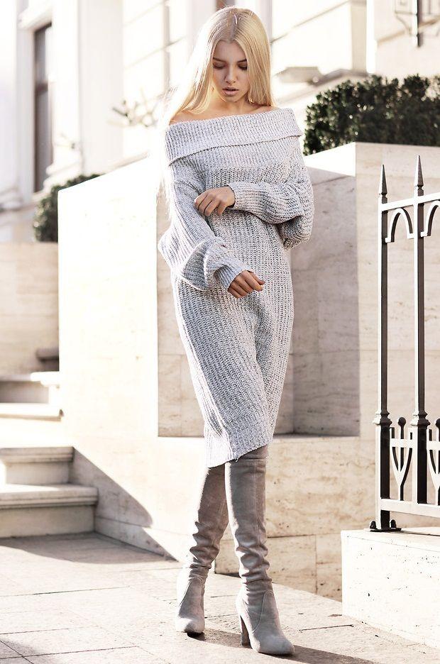 Вязаное платье с открытыми плечами купить