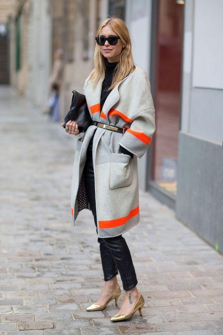Пальто в стиле колорблок