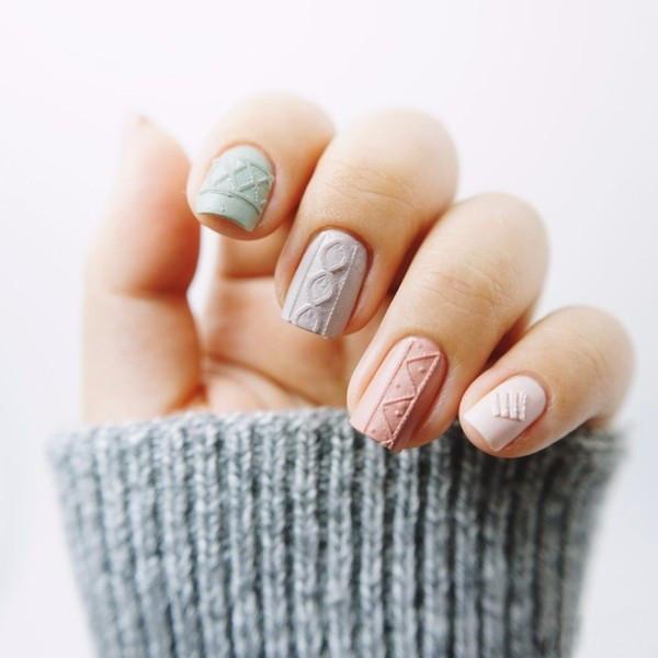 Ногти с вязаным дизайном