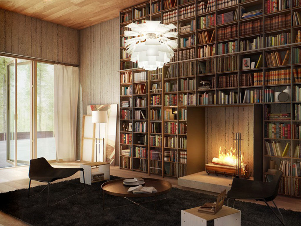 Электрокамин, встроенный в стеллаж для книг